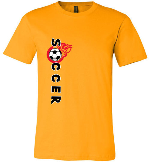 Sports Soccer Niche T-Shirt - Soccer Flame - Gold