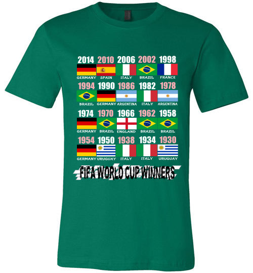 Sports Soccer Niche T-Shirt - FIFA World Cup Winners With Flag (1930 - 2014) - Kelly