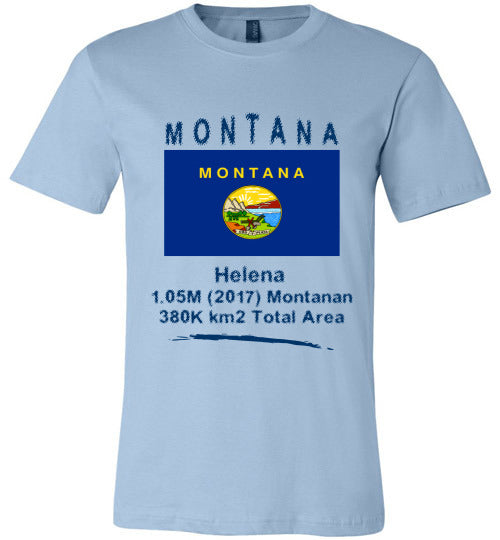 Montana State Shirt - Flag, Capital, Population, Resident's Name, Total Area - Unisex - Light Blue