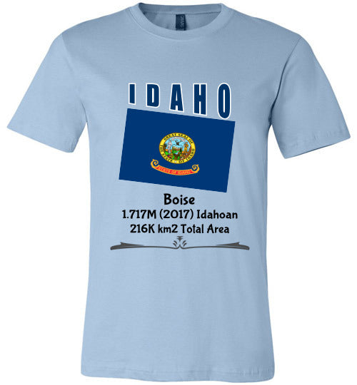 Idaho State Shirt - Flag, Capital, Population, Resident's Name, Total Area - Unisex - Light Blue