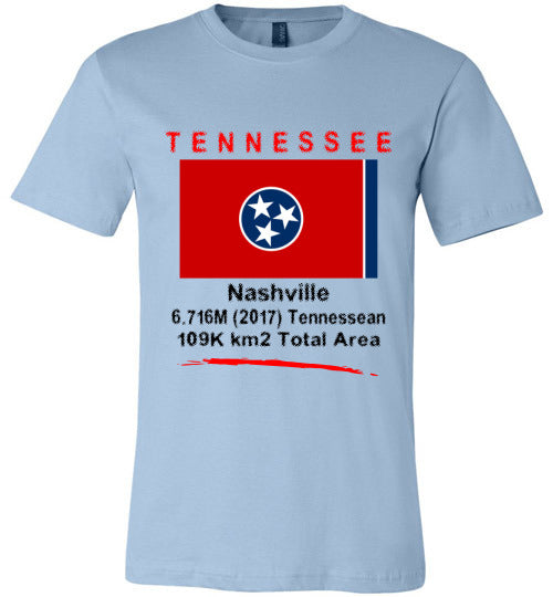 Tennessee State Shirt - Flag, Capital, Population, Resident's Name, Total Area - Unisex - Light Blue