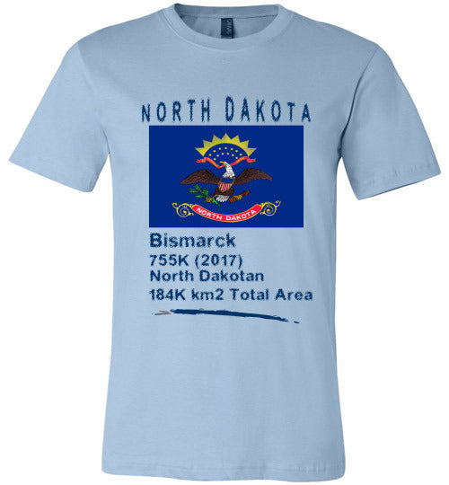 North Dakota State Shirt - Flag, Capital, Population, Resident's Name, Total Area - Unisex - Light Blue