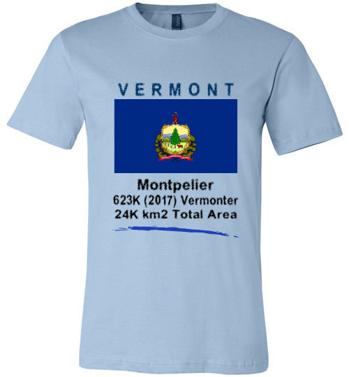 Vermont State Shirt - Flag, Capital, Population, Resident's Name, Total Area - Unisex - Light blue
