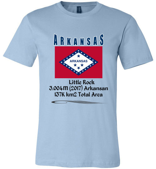 Arkansas State Shirt - Flag, Capital, Population, Resident's Name, Total Area - Unisex - Light Blue