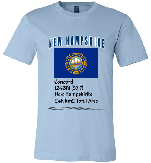 New Hampshire State Shirt - Flag, Capital, Population, Resident's Name, Total Area - Unisex - Light Blue