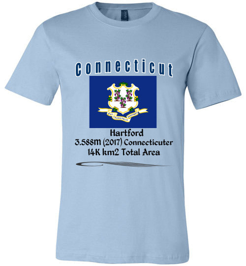 Connecticut State Shirt - Flag, Capital, Population, Resident's Name, Total Area - Unisex - Light Blue