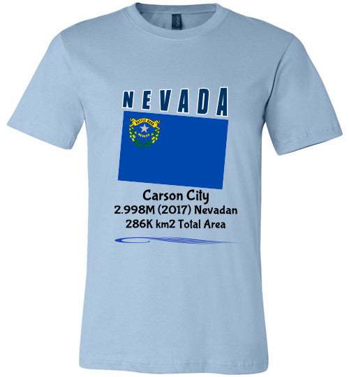 Nevada State Shirt - Flag, Capital, Population, Resident's Name, Total Area - Unisex - Light Blue