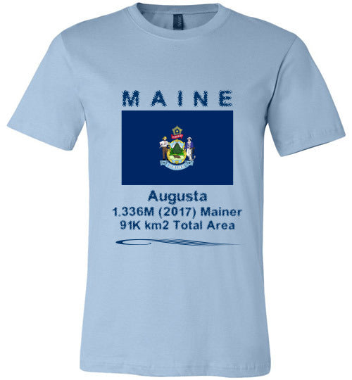 Maine State Shirt - Flag, Capital, Population, Resident's Name, Total Area - Unisex - Light Blue