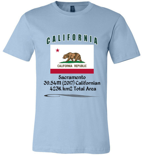 California State Shirt - Flag, Capital, Population, Resident's Name, Total Area - Unisex - Light Blue