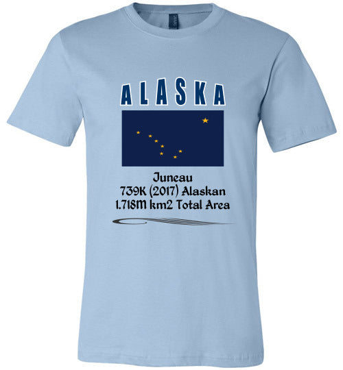 Alaska State Shirt - Flag, Capital, Population, Resident's Name, Total Area - Unisex - Light Blue
