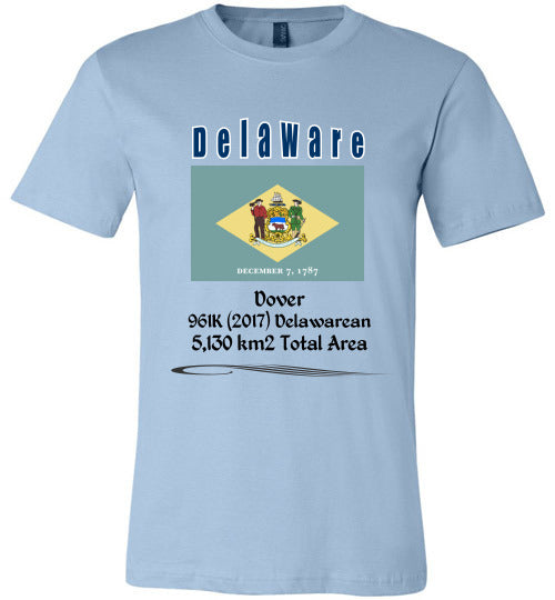 Delaware State Shirt - Flag, Capital, Population, Resident's Name, Total Area - Unisex - Light Blue