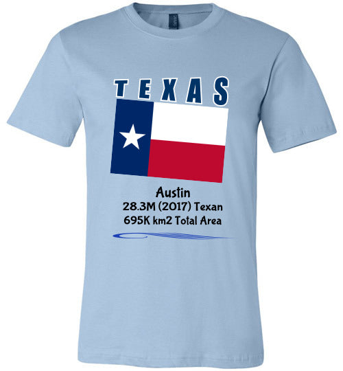 Texas State Shirt - Flag, Capital, Population, Resident's Name, Total Area - Unisex - Light Blue