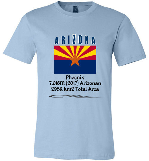 Arizona State Shirt - Flag, Capital, Population, Resident's Name, Total Area - Unisex - Light Blue