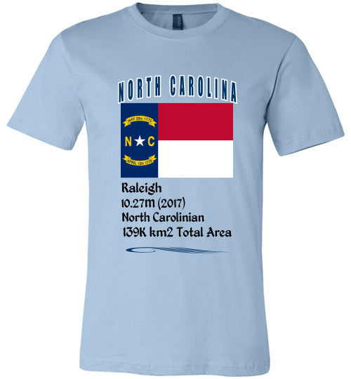 North Carolina State Shirt - Flag, Capital, Population, Resident's Name, Total Area - Unisex - Light Blue