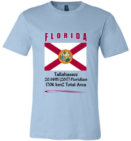Florida State Shirt - Flag, Capital, Population, Resident's Name, Total Area - Unisex - Athletic Heather