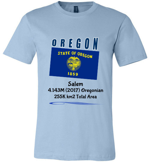 Oregon State Shirt - Flag, Capital, Population, Resident's Name, Total Area - Unisex - Light blue