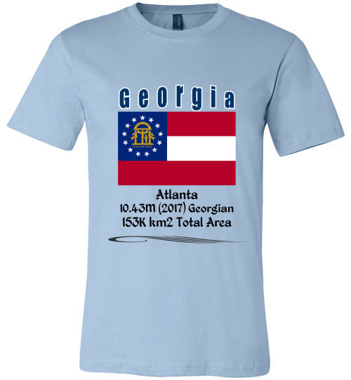 Georgia State Shirt - Flag, Capital, Population, Resident's Name, Total Area - Unisex - Light Blue