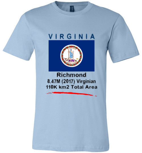 Virginia State Shirt - Flag, Capital, Population, Resident's Name, Total Area - Unisex - Light Blue