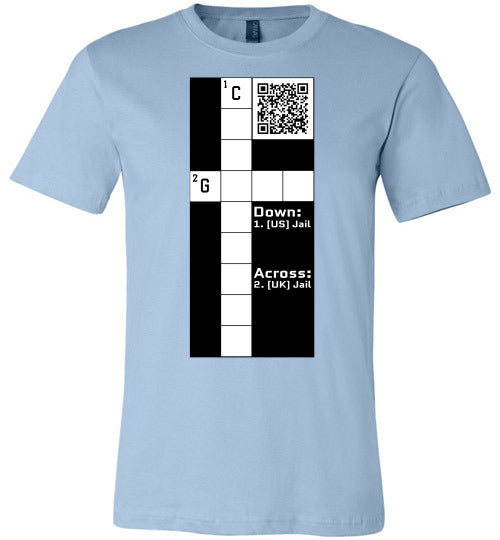 Unisex Canvas T-Shirt | CPZ001 Crossword Puzzle - Jail - Light Blue