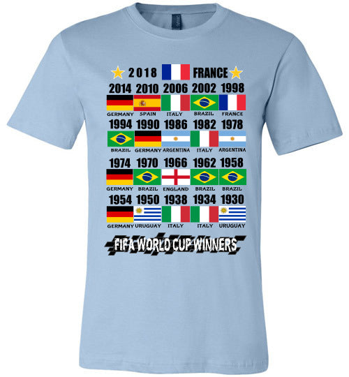 Canvas Unisex T-Shirt | FIFA World Cup Winners with Flags (1930 - 2018) - Light Blue