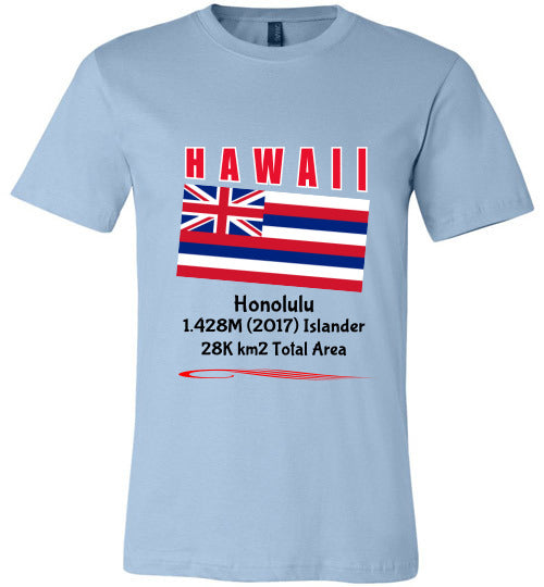 Hawaii State Shirt - Flag, Capital, Population, Resident's Name, Total Area - Unisex - Light Blue