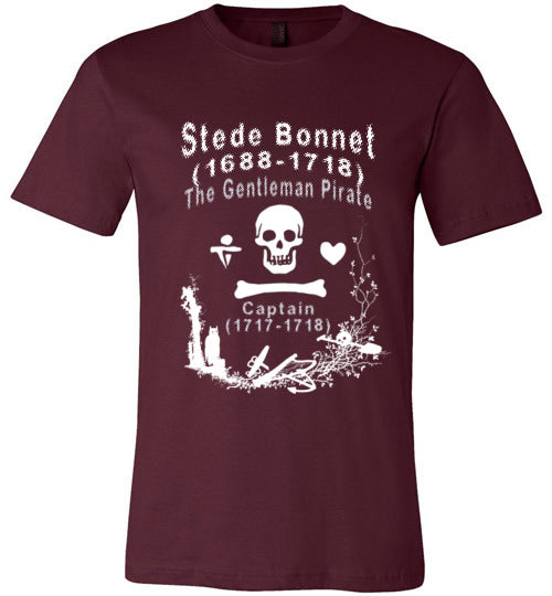 Pirates T-Shirt | Stede Bonnet The Gentleman Pirate - Maroon