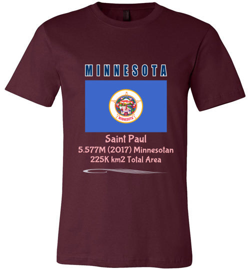 Minnesota State Shirt - Flag, Capital, Population, Resident's Name, Total Area - Unisex - Maroon