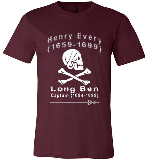 Pirates T-Shirt | Henry Every Long Ben - Maroon