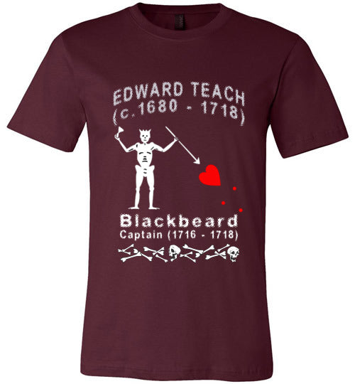 Pirates T-Shirt | Edward Teach / Edward Thatch Blackbeard - Maroon