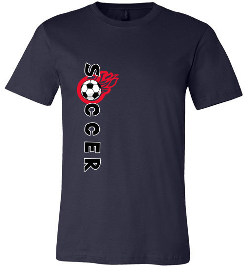 Sports Soccer Niche T-Shirt - Soccer Flame - Navy