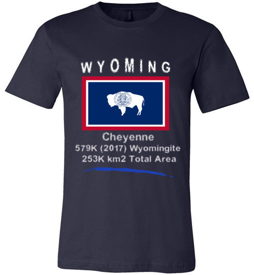Wyoming State Shirt - Flag, Capital, Population, Resident's Name, Total Area - Unisex - Navy