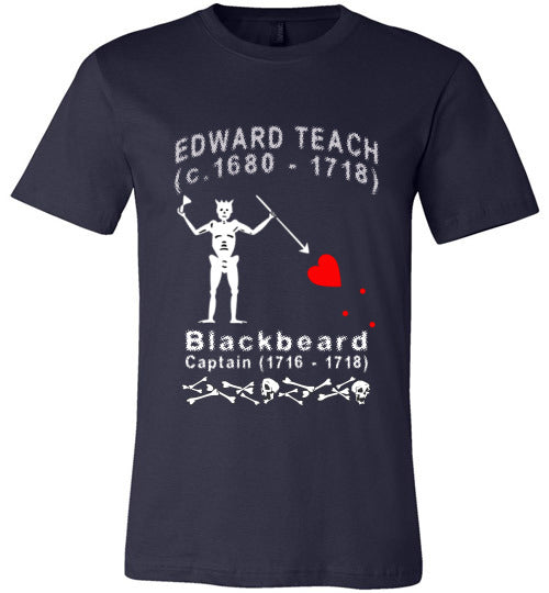 Pirates T-Shirt | Edward Teach / Edward Thatch Blackbeard - Navy