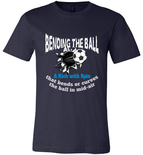 Sports Soccer Niche T-Shirt - Bending The Ball - Navy
