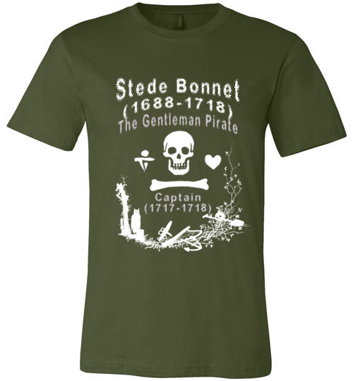 Pirates T-Shirt | Stede Bonnet The Gentleman Pirate - Olive