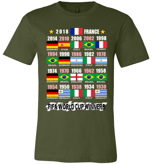 Canvas Unisex T-Shirt | FIFA World Cup Winners (Flag) 1930 - 2018 - Olive