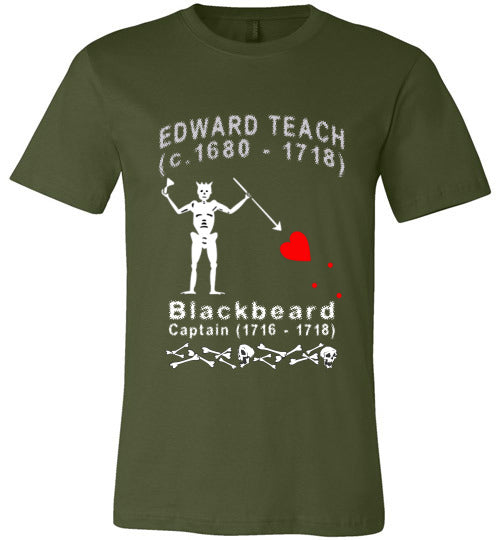 Pirates T-Shirt | Edward Teach / Edward Thatch Blackbeard - Olive