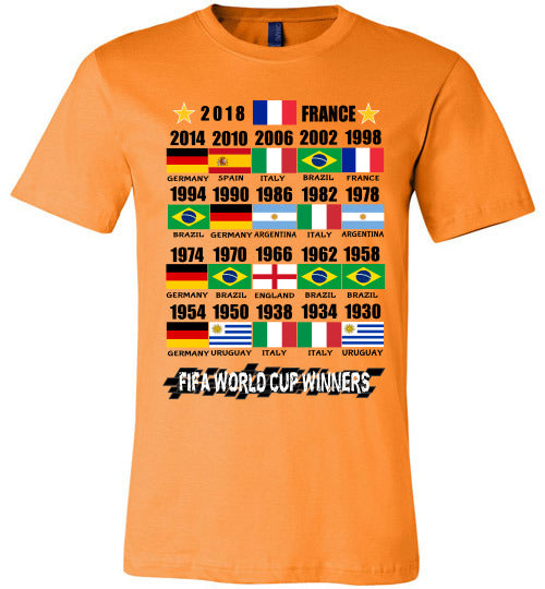 Canvas Unisex T-Shirt | FIFA World Cup Winners with Flags (1930 - 2018) - Orange