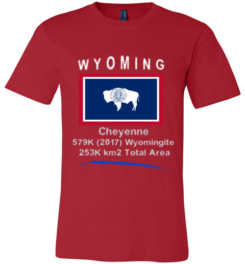Wyoming State Shirt - Flag, Capital, Population, Resident's Name, Total Area - Unisex - Red