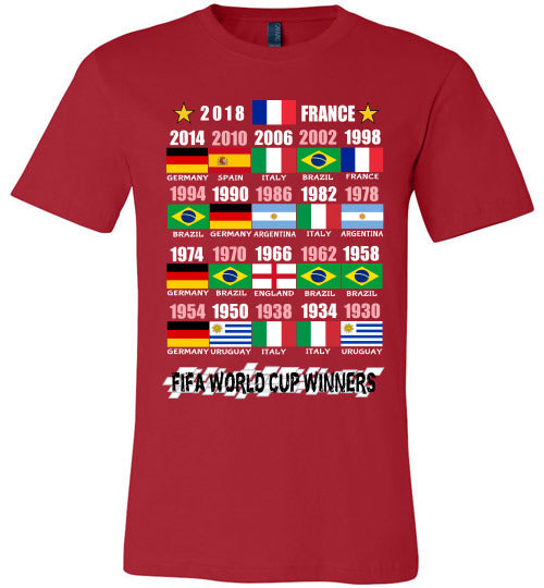 Canvas Unisex T-Shirt | FIFA World Cup Winners (Flag) 1930 - 2018 - Red