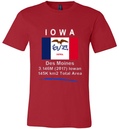 Iowa State Shirt - Flag, Capital, Population, Resident's Name, Total Area - Unisex - Red