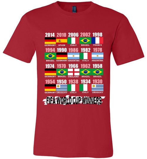 Sports Soccer Niche T-Shirt - FIFA World Cup Winners With Flag (1930 - 2014) - Red
