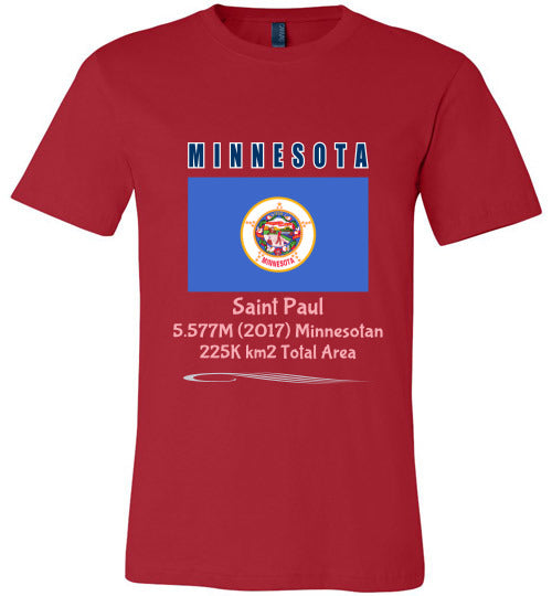 Minnesota State Shirt - Flag, Capital, Population, Resident's Name, Total Area - Unisex - Red