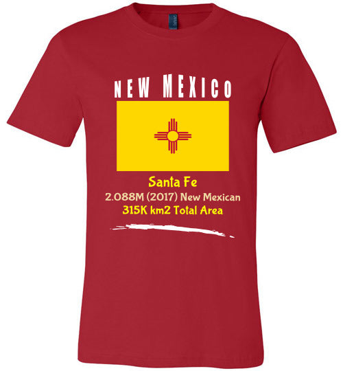 New Mexico State Shirt - Flag, Capital, Population, Resident's Name, Total Area - Unisex - Red