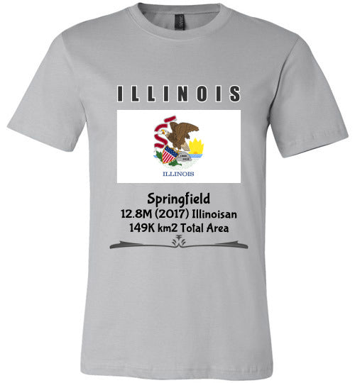 Illinois State Shirt - Flag, Capital, Population, Resident's Name, Total Area - Unisex - Silver