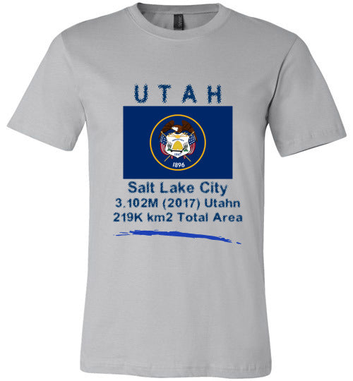 Utah State Shirt - Flag, Capital, Population, Resident's Name, Total Area - Unisex - Silver