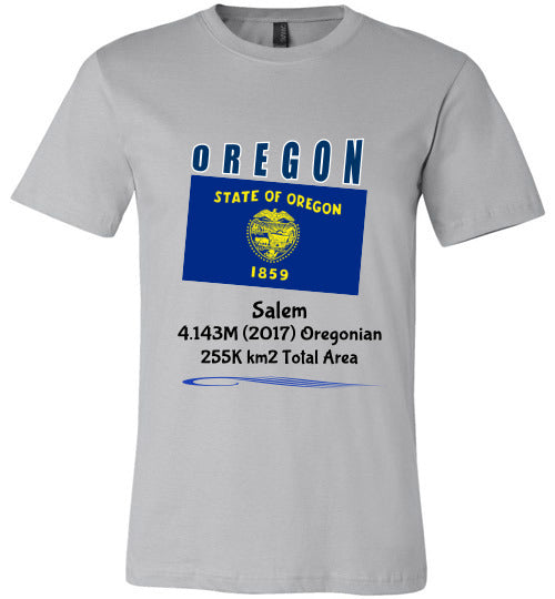 Oregon State Shirt - Flag, Capital, Population, Resident's Name, Total Area - Unisex - Silver