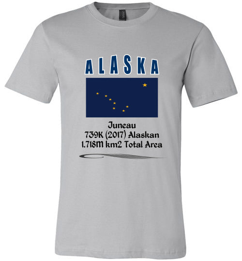Alaska State Shirt - Flag, Capital, Population, Resident's Name, Total Area - Unisex - Silver