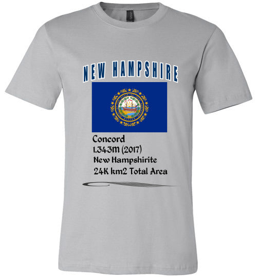 New Hampshire State Shirt - Flag, Capital, Population, Resident's Name, Total Area - Unisex - Silver