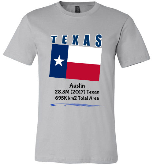 Texas State Shirt - Flag, Capital, Population, Resident's Name, Total Area - Unisex - Silver