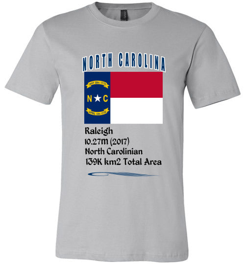 North Carolina State Shirt - Flag, Capital, Population, Resident's Name, Total Area - Unisex - Silver